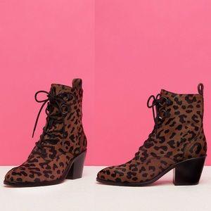 Diane Von Furstenburg Leopard Hair Lace-Up Boots